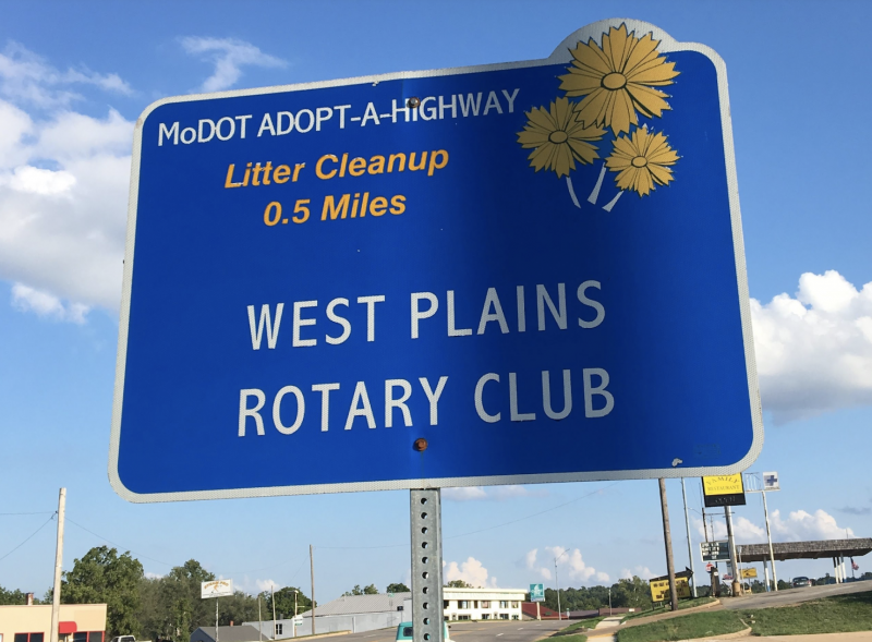 The West Plains Rotary Club has adopted part of Porter Wagoner Blvd. and Broadway St. Trash clean-up days help keep our city beautiful. Rotarians, report trash pick-up at http://nomoretrash.org.